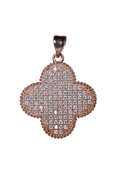 Plus Shaped Crystal Metal Pendant P0337 - Rose Gold