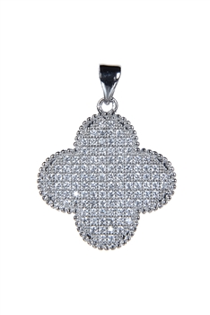 Plus Shaped Crystal Metal Pendant P0337 - Silver
