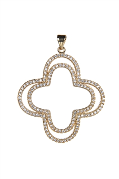 Plus Shaped Crystal Metal Pendant P0340 - Gold