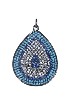 Oval Teardrop Zircon Metal Pendant P0343 - Blue