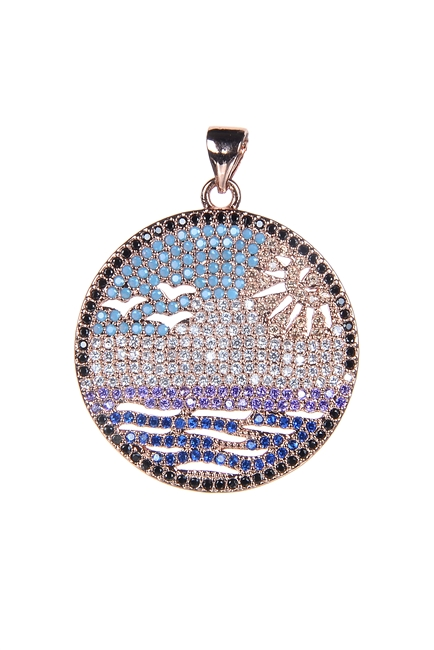 Sun Beach Crystal Metal Pendant P0345