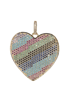 Heart Shaped Zircon Metal Pendants P0349