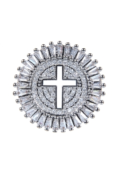 Round Cross Pattern Zircon Metal P0352 - Silver