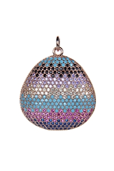 Oval Crystal Metal Pendant P0358 - Gold
