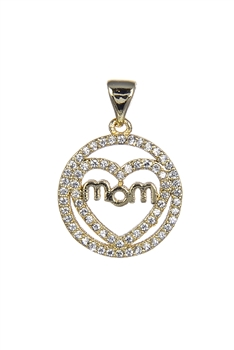 Love Mom Zircon Pendants P0395 - Gold