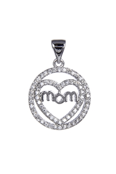 Love Mom Zircon Pendants P0395 - Silver