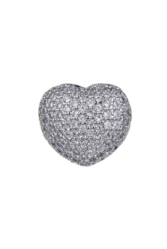 Heart Zircon Pendants P0403 - Silver