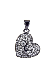 Heart Zircon Pendants P0412 - Gun Metal