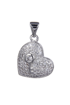 Heart Zircon Pendants P0412 - Silver