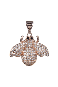 Cute Little Bee Zircon Pendants P0415 - Rose Gold