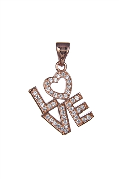 Love Letter Zircon Pendant P0416 - Rose Gold