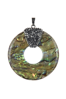 Round Mother of Pearl Crystal Pendant P0440