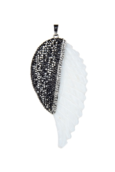 Crystal Natural Shell Wing Pendants P0450
