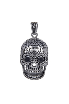 Stainless Steel Skull Pendants P0478 - Black - L