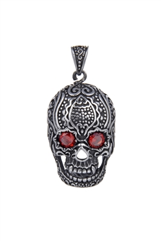 Stainless Steel Skull Pendants P0478 - Red - L