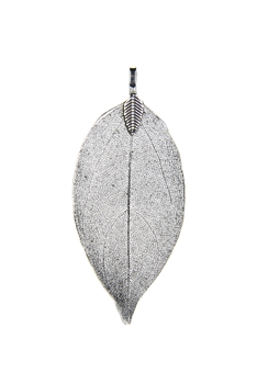 Fashion Real Natural Filigree Leaf Shaped Pendants P0488 - Silver