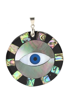 Evil Eye Mother of Pearl Pendant P0626 - Black