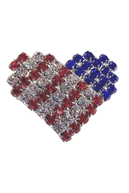 Heart USA Flag Brooches PA3080