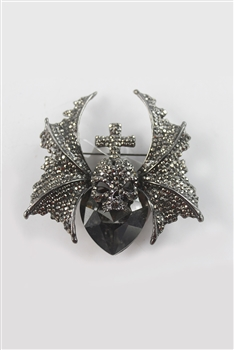 Skull Crystal Accent Devil Brooch PA3134