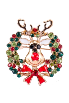 Christmas Elk Alloy Brooch PA3192