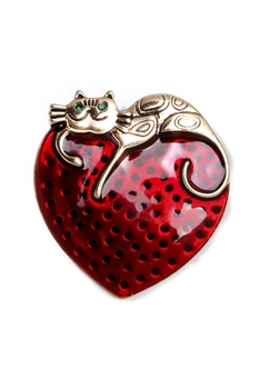 Kitty Heart Alloy Brooch PA3446