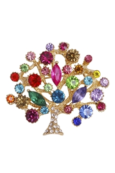 Tree Of Life Rhinestone Brooch PA3568 - Gold