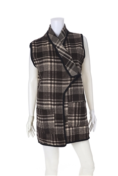 Plaid  Poncho Vest PJA01 - Brown