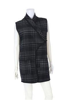 Plaid  Poncho Vest PJA01 - Grey