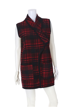Plaid  Poncho Vest PJA01 - Red