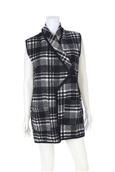 Plaid  Poncho Vest PJA01 - White