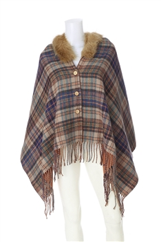 Fur Collar Plaid Poncho PJA18 - Mauve