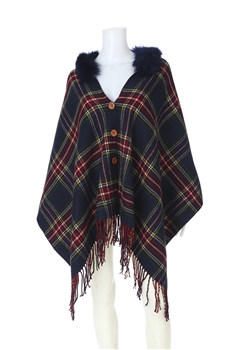 Fur Collar Plaid Poncho PJA18 - Navy