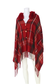 Fur Collar Plaid Poncho PJA18 - Red