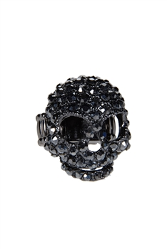 Rhinestone Accent Skull Ring R1014 - Black