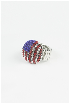 Rhinestone Accent Round Flag Ring R1029