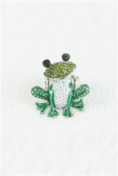 Rhinestone Accent Frog Ring R1038