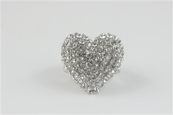 Crystal Accent Heart Ring R1042 - Red