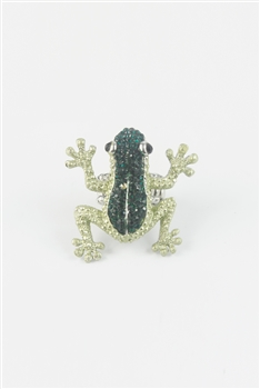 Rhinestone Accent Frog Ring R1043