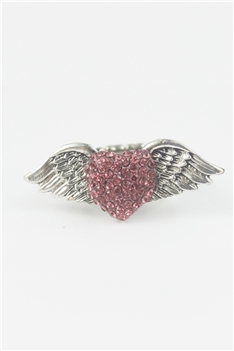 Rhinestone Accent Wings Heart Ring R1050 - Pink