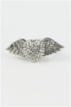Rhinestone Accent Wings Heart Ring R1050