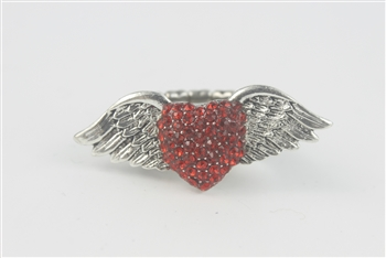 Rhinestone Accent Wings Heart Ring R1050 - Red