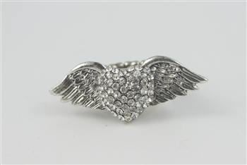 Rhinestone Accent Wings Heart Ring R1050 - Silver
