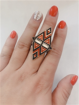 Diamond Shaped Bohemia Rings R1073 - Red