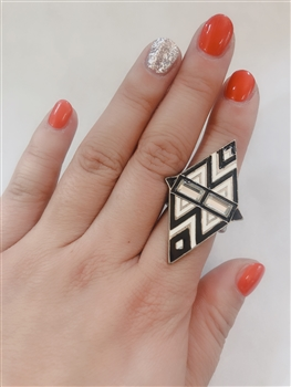 Diamond Shaped Bohemia Rings R1073 - White