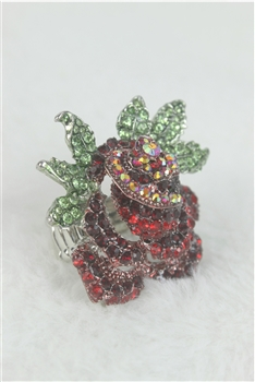 Flower Stretch Rhinestone Rose Ring R1142
