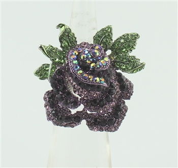 Flower Stretch Rhinestone Rose Ring R1142 - Purple