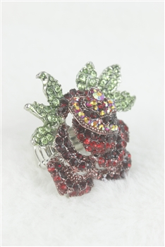 Flower Stretch Rhinestone Rose Ring R1142 - Red