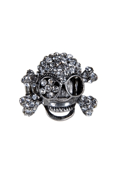 Rhinestone Skull Head Stretch Rings R1149 - White