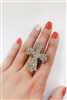 Rhinestone Accent Cross Charm Stretch Rings R1151