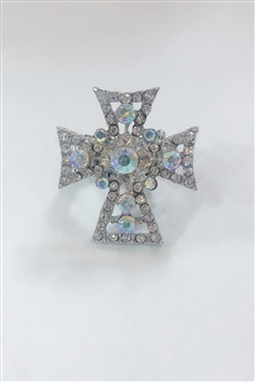 Rhinestone Dotted  Filigree Cross Charm Rings R1153
